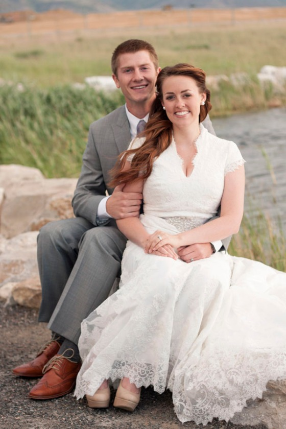 Pond wedding photo
