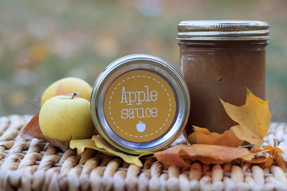 Printable apple sauce mason jar labels