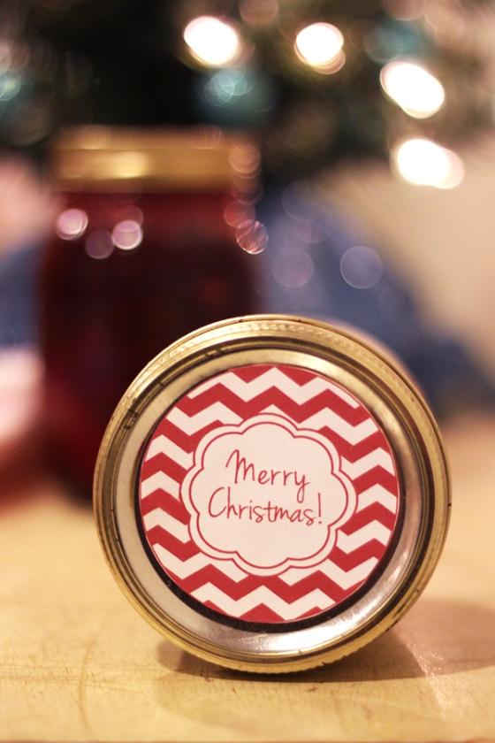 Printable chevron Christmas jar labels