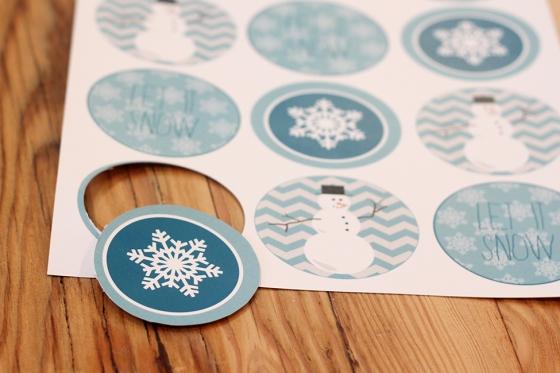 DIY snowman jar labels